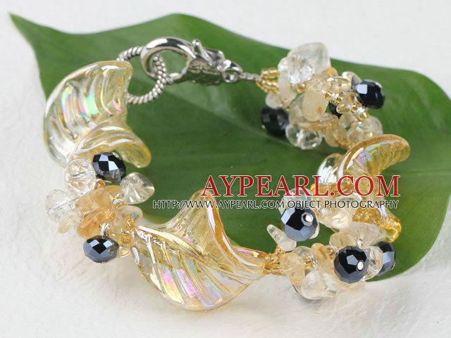 7.5 inches colored glaze and citrine bracelet with lobster clasp