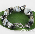 7.5 inches colored glaze and pearl bracelet with lobster clasp