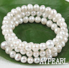 Wholesale 6-9mm natural white pearl 3 strand bracelet