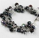 Wholesale 7.5 inches black pearl and crystal bracelet with extendable chain