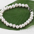 7-8mm white pearl bracelet with lobster clasp