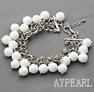 Wholesale White Series 10mm Round White Porcelain Stone Bracelet with Metal Chain