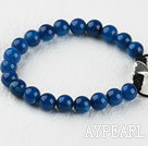 Wholesale 8mm blue agate bracelet with extendable chain