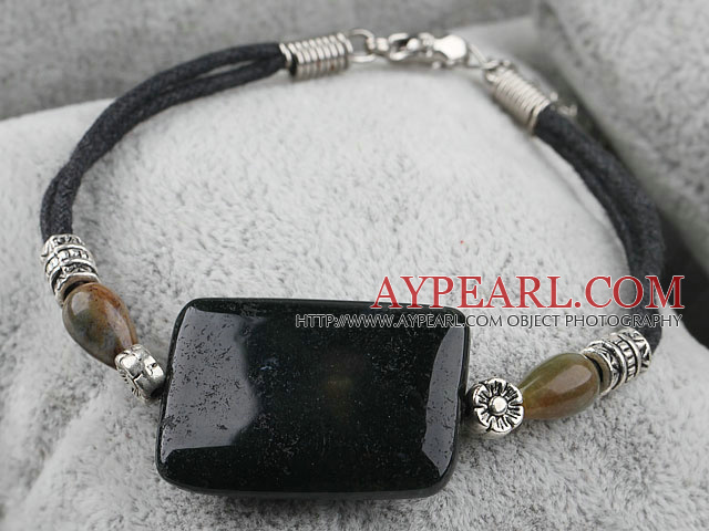 Nice Nut Shape India Carnelian And Large Square India Agate Bracelet With Black Cords