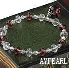 Wholesale Fashion White And Wine Red Czech Crystal Elastic Stretch Bracelet With Teardrop Pendant