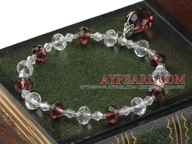 Fashion White And Wine Red Czech Crystal Elastic Stretch Bracelet With Teardrop Pendant