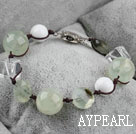 Wholesale Wonderful White Cubic Crystal And Green Rutilated Quartz Bracelet