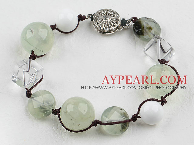 Wonderful White Cubic Crystal And Green Rutilated Quartz Bracelet