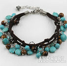 Nice Tiger Eye And Blue Turquoise Loop Charm Leather Bracelet With Extendable Chain