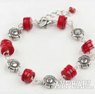 Cute Red Coral Metal Charm Bracelet With Lobster Clasp And Extendable Chain