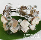White Crystal and Shell Wire Wrapped Bracelet with Magnetic Clasp