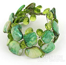 Wholesale Apple Green Crystal and Shell Wire Wrapped Bracelet with Magnetic Clasp