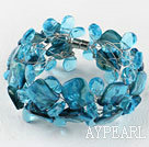 Wholesale sea blue drop crystal and shell bracelet with magnetic clasp