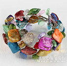 Multi Color Crystal and Shell Wire Wrapped Bracelet with Magnetic Clasp