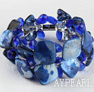 blue crystal and shell bracelet with magnetic clasp