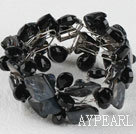 Wholesale Black Drop Crystal and Shell Wire Wrapped Bracelet with Magnetic Clasp