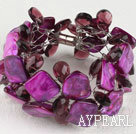 Wholesale purple crystal and shell bracelet with magnetic clasp