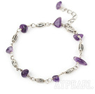 Wholesale natural amethyst bracelet with extendable chain