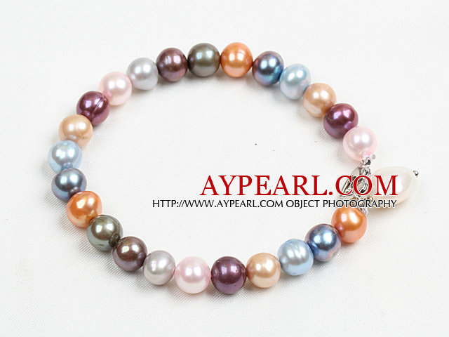 Summer Style Multi Color Natural Freshwater Pearl Bracelet With Pearl Charm And Heart Clasp