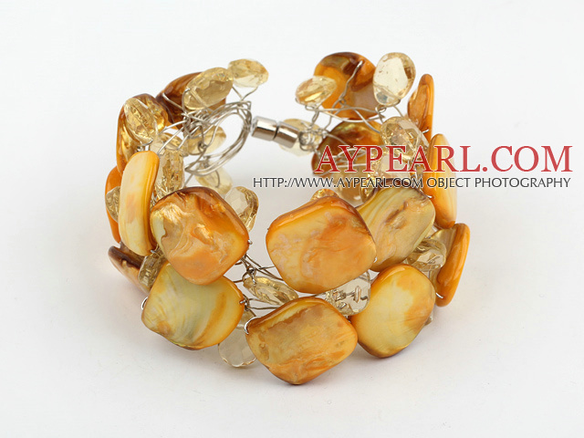 Yellow Crystal and Shell Wire Wrapped Bracelet with Magnetic Clasp