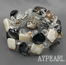 Wholesale Clear Crystal and Black Brown Shell Wire Wrapped Bracelet with Magnetic Clasp