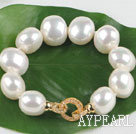 Wholesale high quality egg shape white sea shell beads bracelet with gold plated clasp