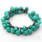 Round Dark Green Candy Jade Bracelet with Metal Chain