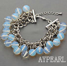 Wholesale White Series 10mm Round Opal Crystal Bracelet with Metal Chain