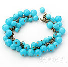 Wholesale Round Blue Candy Jade Bracelet with Metal Chain