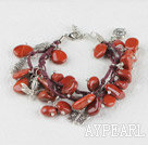 Wholesale red jasper and butterfly charm bracelet with extendable chain