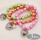 3 pcs Beautiful Dyed Multi Color Baroque Freshwater Pearl Bracelet with Heart Accessory