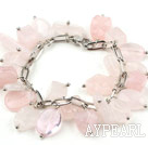 Pink Series Assorted Rose Quartz Bracelet with Bold Style Metal Chain