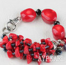 7.9 inches red coral black crystal bracelet with big lobster clasp