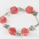 Wholesale cherry quartze carved flower tibet silver butterfly bracelet with extendable chain