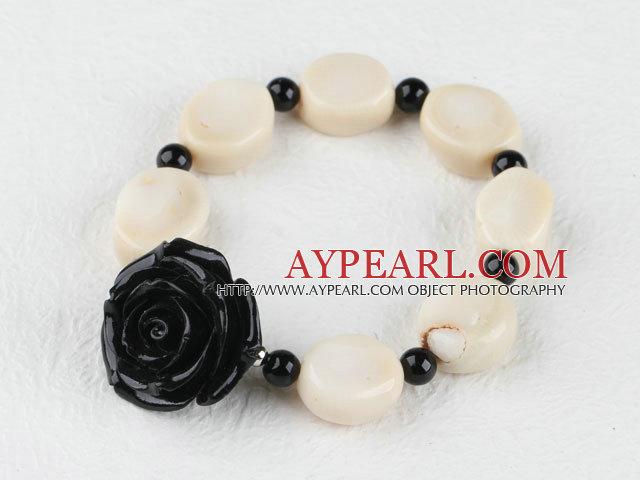 elastic white coral black agate  flower bracelet