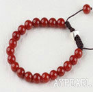 Wholesale 7.5 inches 8mm red agate brecalet with extendable chain