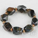 7.5 inches elastic tiger eye brown pearl bracelet