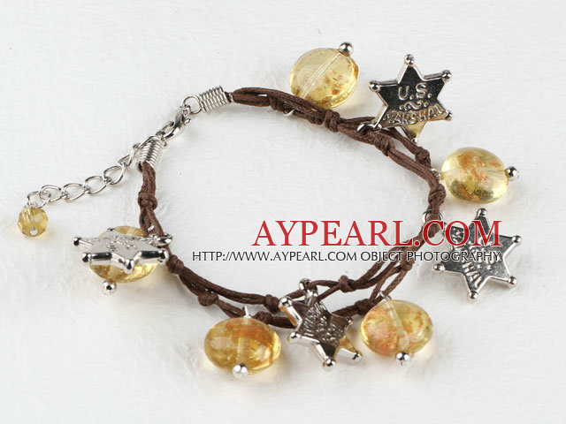 yellow colored glaze star charm bracelet with extendable chain