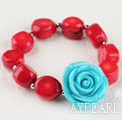 Wholesale 7.5 inches elastic red coral turquoise flower bracelet