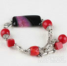 Wholesale red coral and agate bracelet with lovely toggle clasp