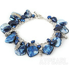 dyed blue pearl and shell bracelet with toggle clasp 