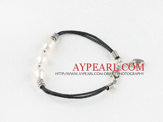 hot style white pearl silver spacer beads bracelet with extendable chain