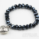 Simple de conception Cristal Noir Bracelet élastique