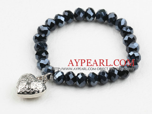 Simple Design Black Crystal Elastic Bangle Bracelet