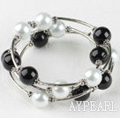7.5 inches black and white 12mm shell beads bangle wrap bracelet