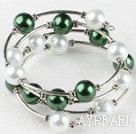 7.5 inches green and white 12mm shell beads bangle wrap bracelet