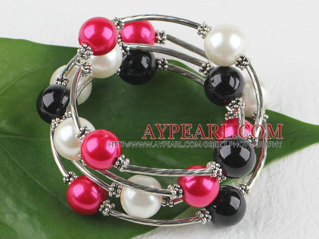 7.5 inches three color 12mm shell beads bangle wrap bracelet