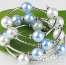 Wholesale 7.5 inches light blue and white 12mm shell beads bangle wrap bracelet