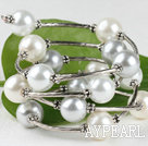 7.5 inches grey and white 12mm shell beads bangle wrap bracelet 