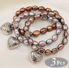 3 pcs Beautiful Brown Baroque Freshwater Pearl Bracelets with Heart Accessory